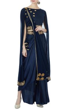Aksh Navy blue satin dhoti sari set
