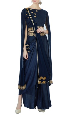navy blue satin dhoti sari set
