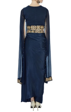 Navy blue satin dhoti sari set