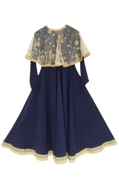 Blue anarkali with poncho