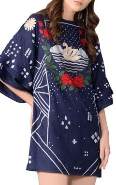 blue linen floral shirt dress
