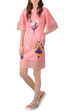pink linen short dress