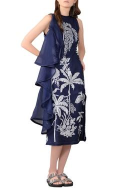 navy blue organza midi dress