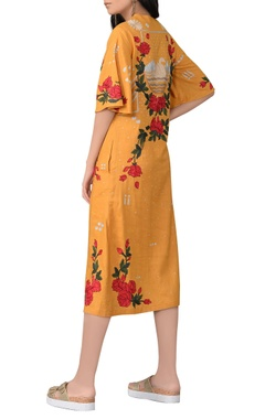 sunrise orange floral midi dress