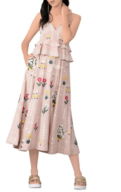 Champagne rose embroidered dress