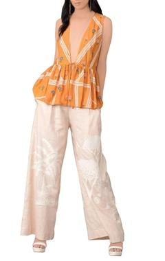 Sahil Kochhar Tangerine orange three-dimensional embroidered jacket