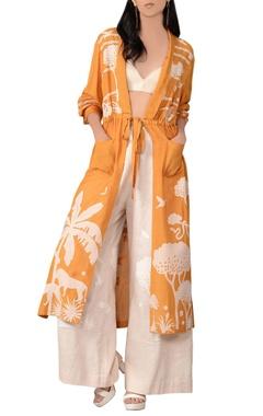 Sahil Kochhar Orange front open tie-up jacket