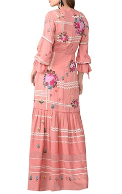 coral pink floral embroidered maxi dress