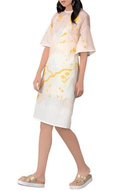 white & yellow midi dress