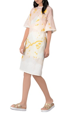 Sahil Kochhar White & yellow midi dress