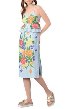 sky blue floral cotton silk dress