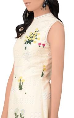 Beige asymmetric cotton silk dress