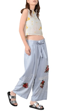 cashmere blue 3d embroidered trousers