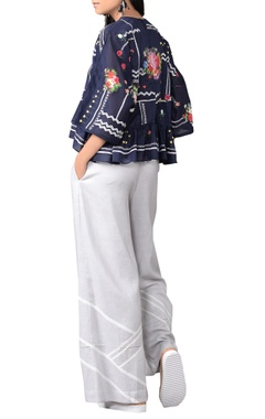 blue floral three-dimensional embroidered top & pants