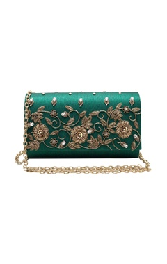 emerald zardozi embroidered clutch