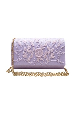 lilac cutdana clutch with button closure