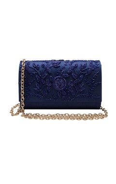 navy blue cutdana work clutch