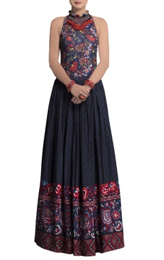 blue cotton embroidered skirt