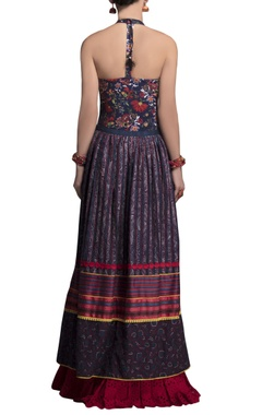 blue embroidered maxi skirt