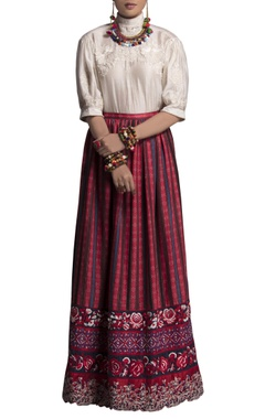 red embroidered maxi skirt