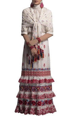 white embroidered skirt & stole