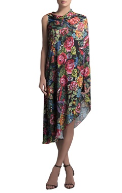 multicolored crepe printed cape