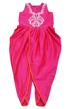 Pink embroidered dhoti jumpsuit