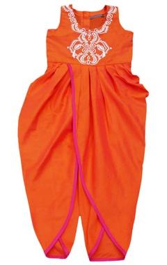 Orange embroidered dhoti jumpsuit