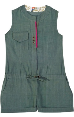 Green solid cotton jumpsuit