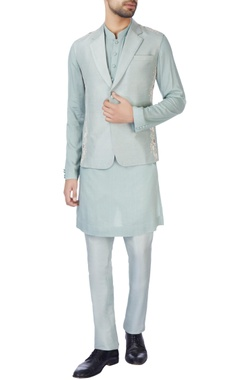 Jaya Rathore Grey-blue bandhi jacket set