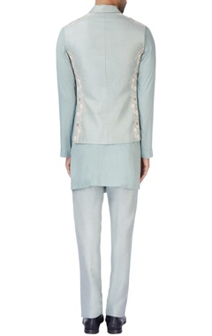 Grey-blue bandhi jacket set