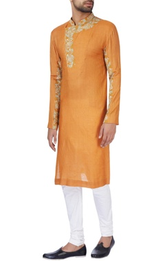 Jaya Rathore Rust orange moonga silk kurta