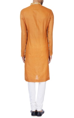 Rust orange moonga silk kurta