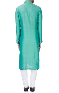 turquoise blue chanderi silk kurta