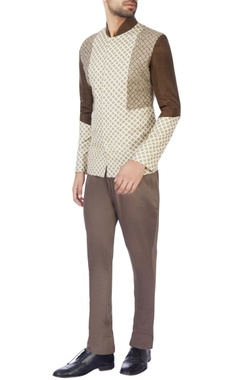 Jaya Rathore Brown & beige moonga silk jacket