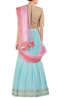 blue embroidered georgette lehenga sari set