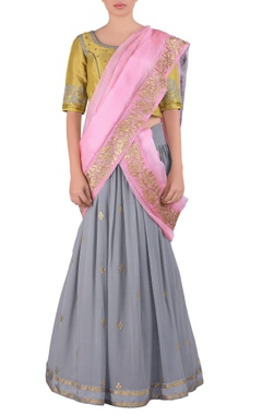 slate grey embroidered georgette lehenga sari set