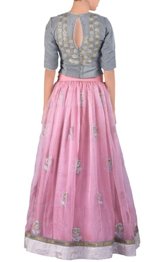 pink embroidered organza lehenga sari set