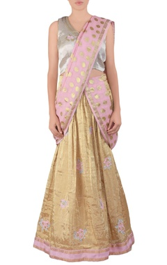 gold butta tissue lehenga sari set