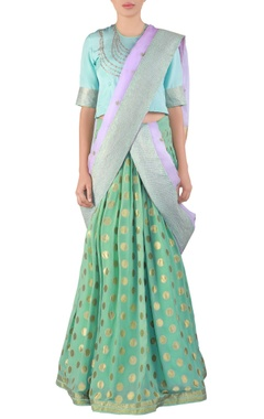 sea green embroidered georgette lehenga sari set