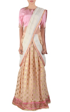 peach embroidered georgette lehenga sari set
