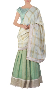 green embroidered tissue lehenga sari set