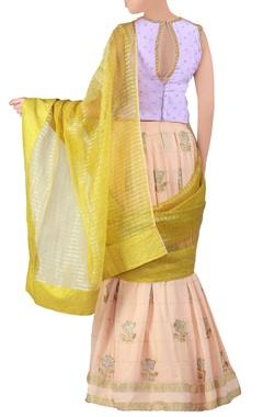 peach embroidered georgette lehenga sari set