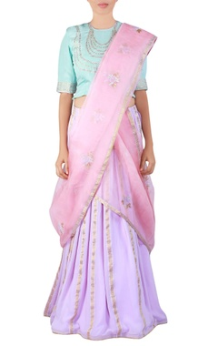 mauve embroidered georgette lehenga sari set