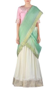 white embroidered georgette lehenga sari set
