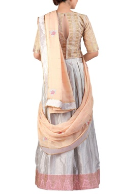 grey embroidered tissue lehenga sari set