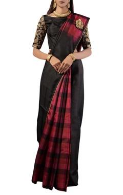 Black checks silk sari with blouse