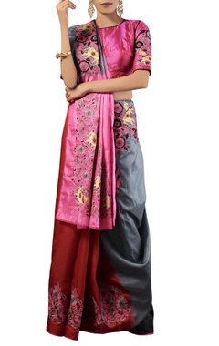 multi-color thread work kora silk sari with blouse
