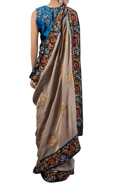 Grey thread work tissue sari with blouse