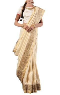 White golden embroidery silk sari with blouse
